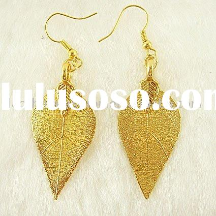 gold natural leaf earring