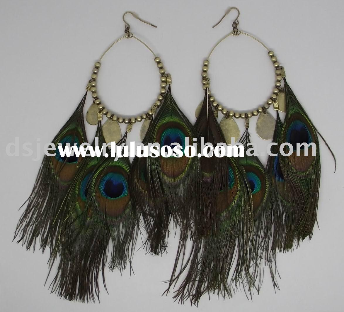 peacock feather drop earring