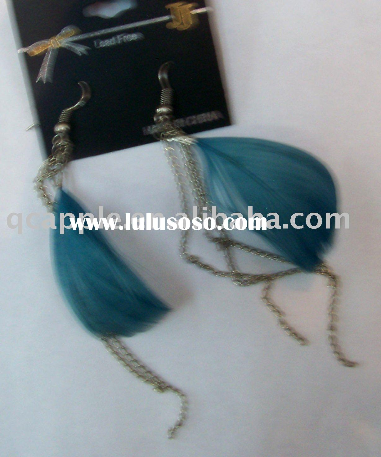silver and blue feather earrings excellent designs various styles