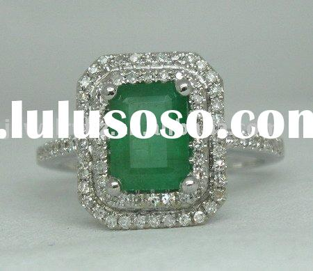 SOLID 14K WHITE GOLD NATURAL EMERALD & DIAMOND JEWELRY