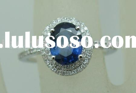 SOLID 14k WHITE GOLD & SAPPHIRE DIAMOND JEWELRY