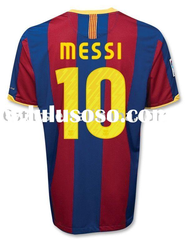 free shipping wholesale  Barcelona #10 MESSI 2010/2011 home Soccer Jersey (red/blue)