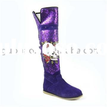 Bright Purple Skull Knee High Boots, Ladies Thigh Boots, Fashion Brand Winter Boots