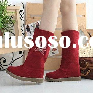 Crystal Skeleton Flat Scrub Snow Boots Red
