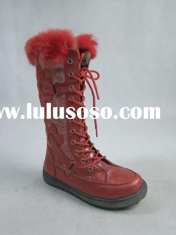 Girls Red Leather Boots