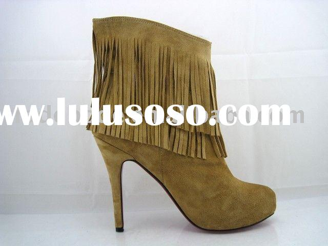 ladies fashion ankle high heel boots yellow