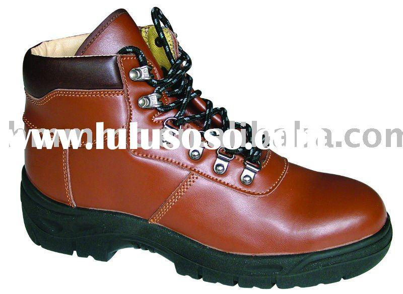 red leather safety boots
