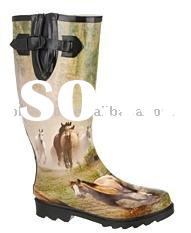Fashion Ladies wellington style rubber rain boots with horse pattern