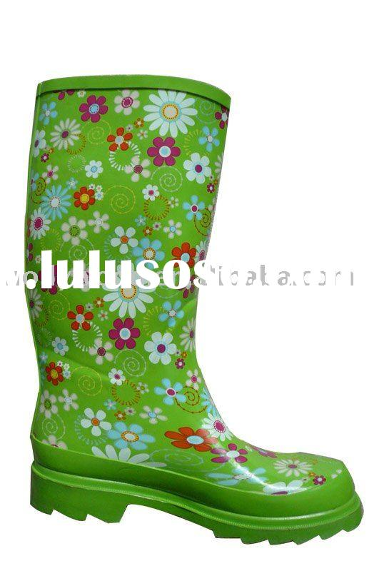 Very Colorful Printed women's rubber rain boots