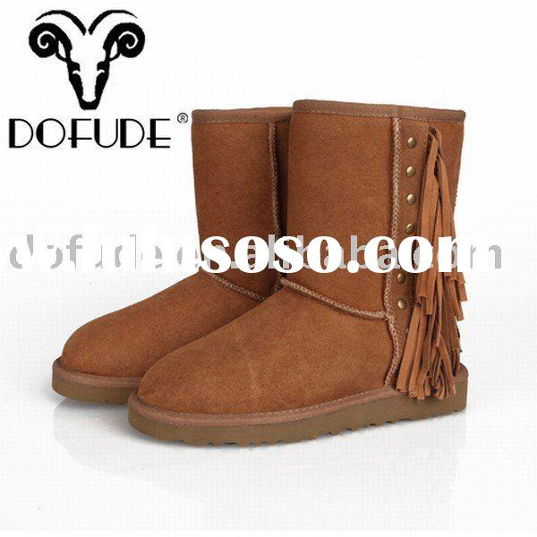 rubber boots for women: tassel fashion snow boot hot sell chestnut HM116