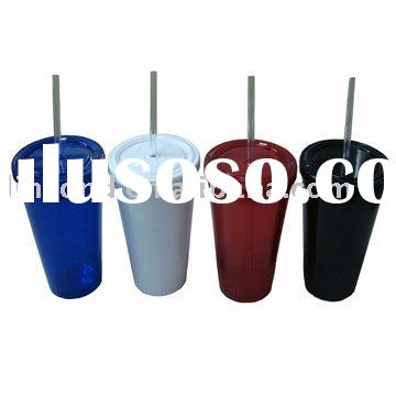 Plastic double wall cup with lid and straw LD-C201
