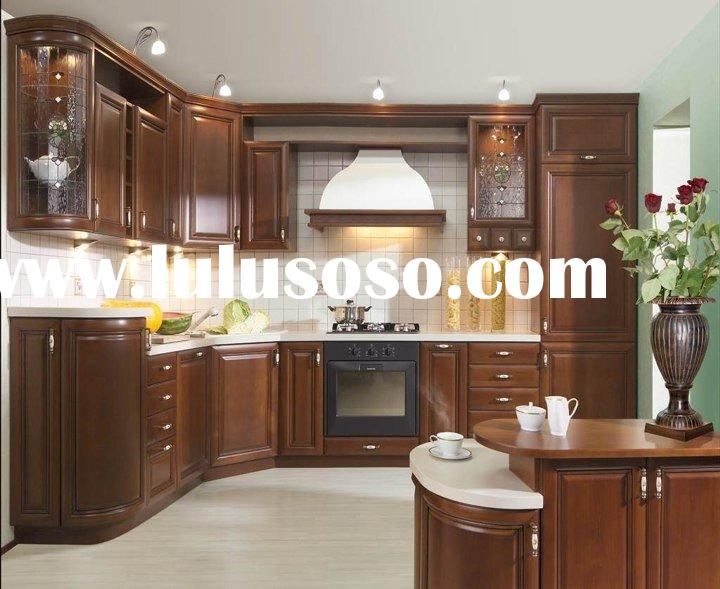 Solid Cherry Wood Kitchen Cabinets with Granite Countertop and Stainless Steel Sinks