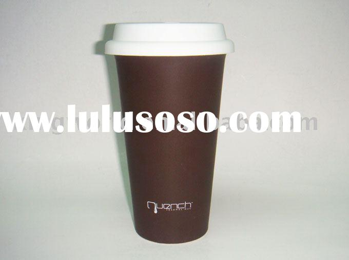 Thermal ceramic mug with silicone lid