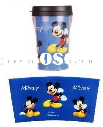 double wall plastic mug with paper insert for promotion
