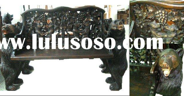 Antique Furniture  Solid Wood Living Room Unique Carved Bench