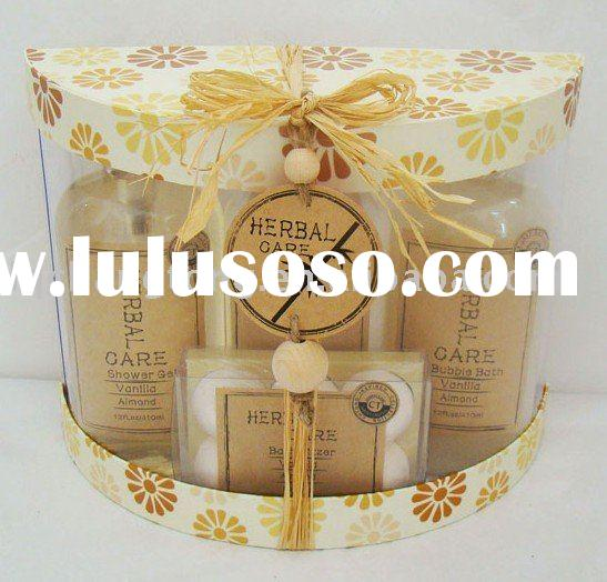2011 New design bath gift set.shower gel. bubble bath.wooden brush