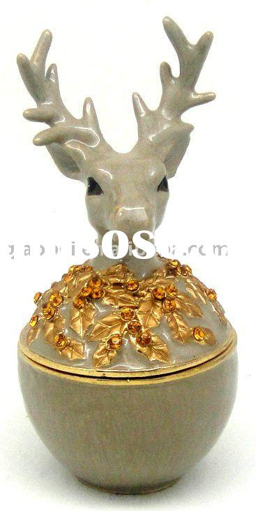 Deer Head Decorative Metal Jewelry Box