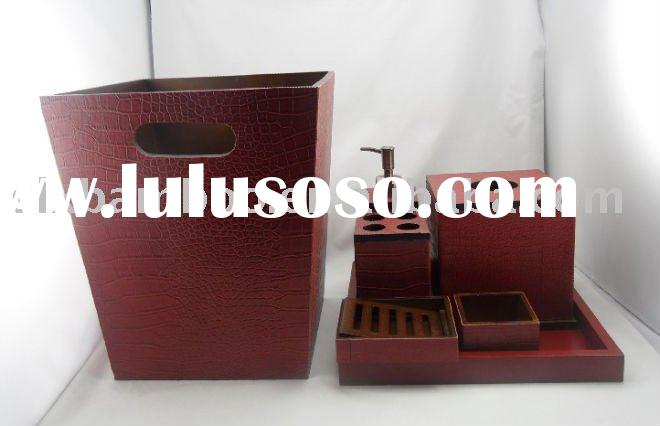 Red bamboo bathroom accessories