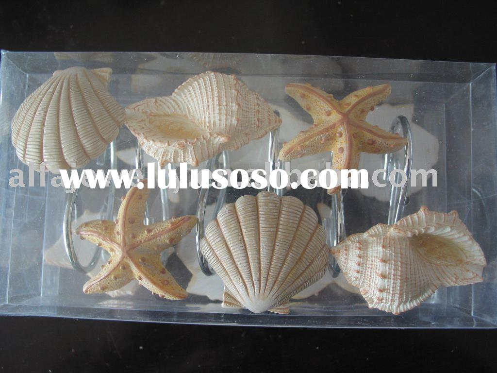 Seashell Bath Accessories Set Shower Curtains
