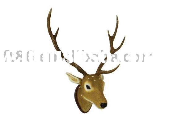 Wall-hung imitated animals head, synthetic fur deer head, wall decoration