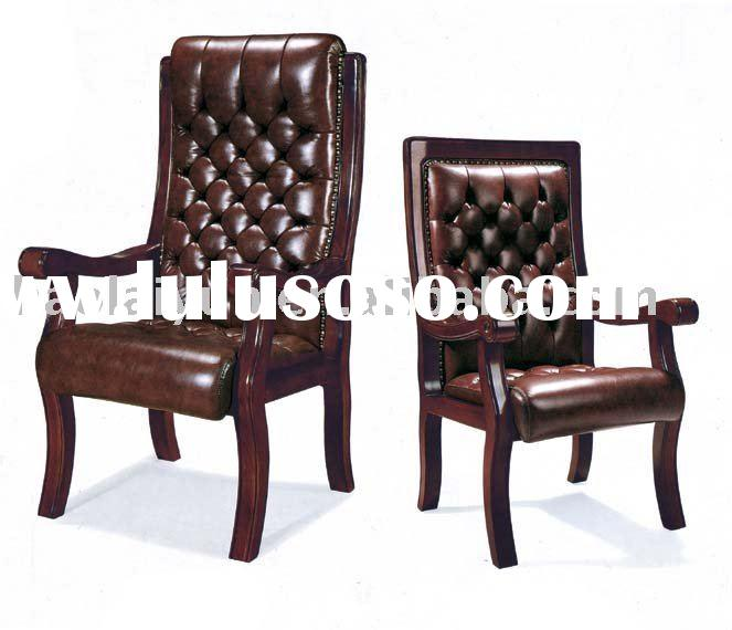 Mid-Back Leather Chair with Wood Frame - 56856 and more Office Chairs