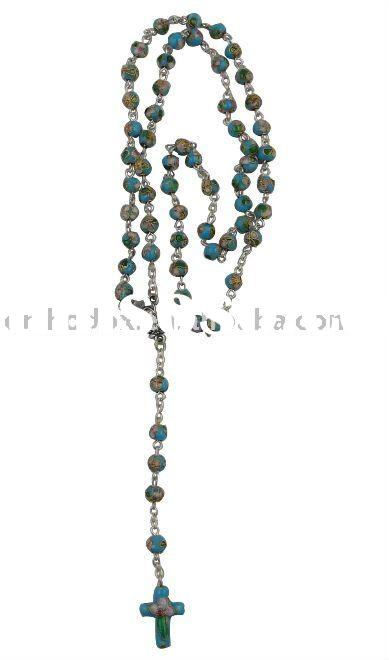 Cloisonne rosary necklace