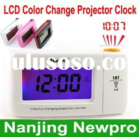 Digital LCD Color Changing Projector Alarm Clock Thermometer 3 colors optional Time Projection