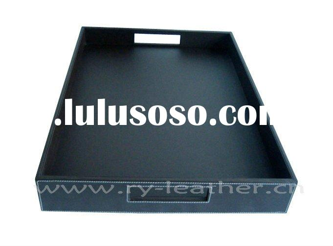 Faux leather rectangle serving tray