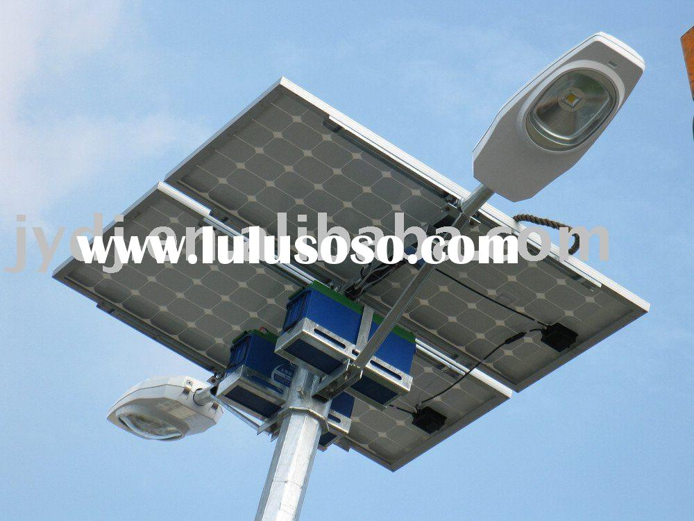 LED solar street light with post