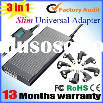 3 in 1 Universal slim auto laptop ac adapter with car charger+ usb+ home use