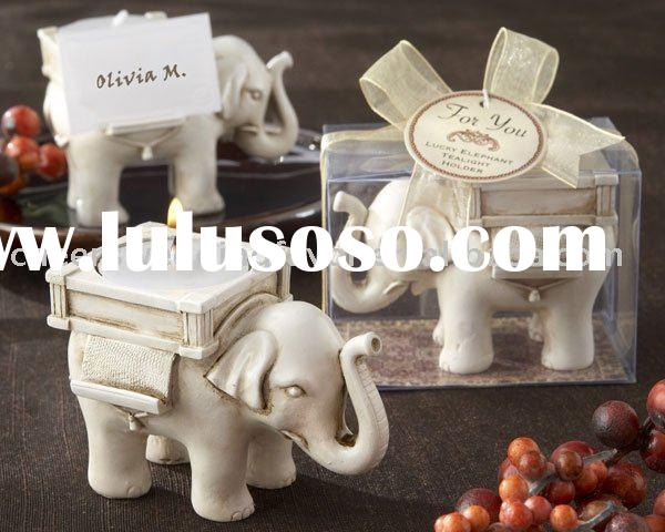 Wedding Favor--Lucky Elephant Antique Ivory-Finish Tea Light Holder