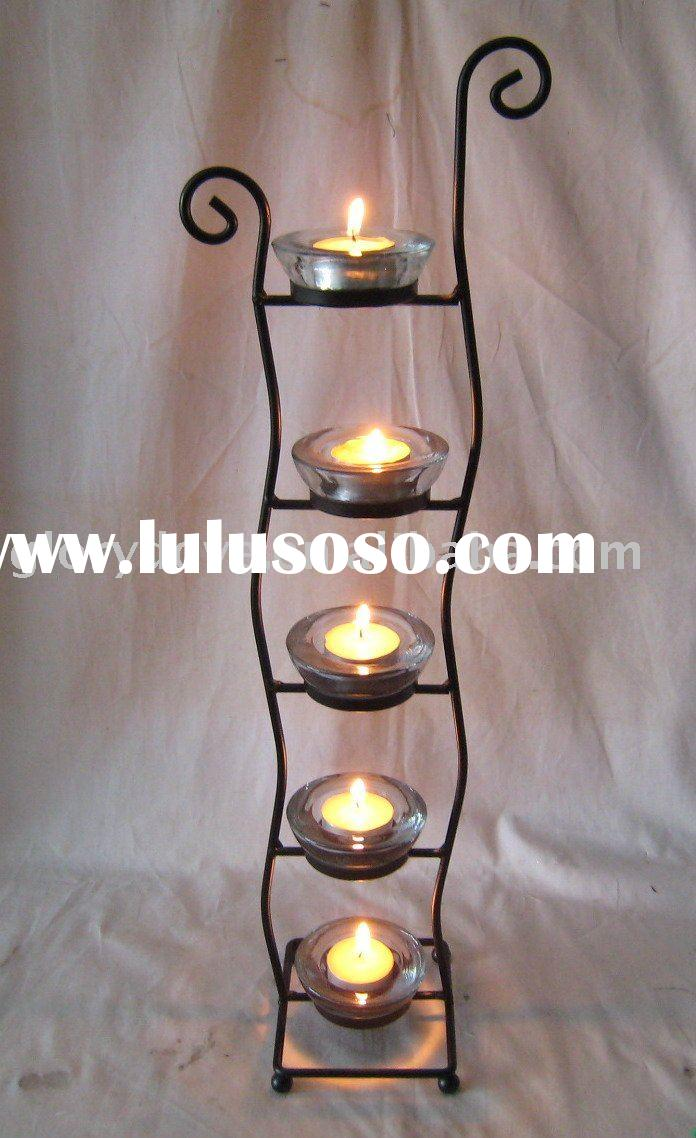 metal  candle holder with five glass