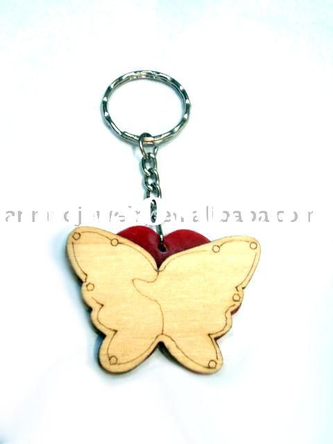 wooden butterfly key ring
