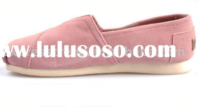 Free Return Famous Brand Toms Women Pink Blue White Rubber Sole Stripe Canvas Shoes 75370ac1