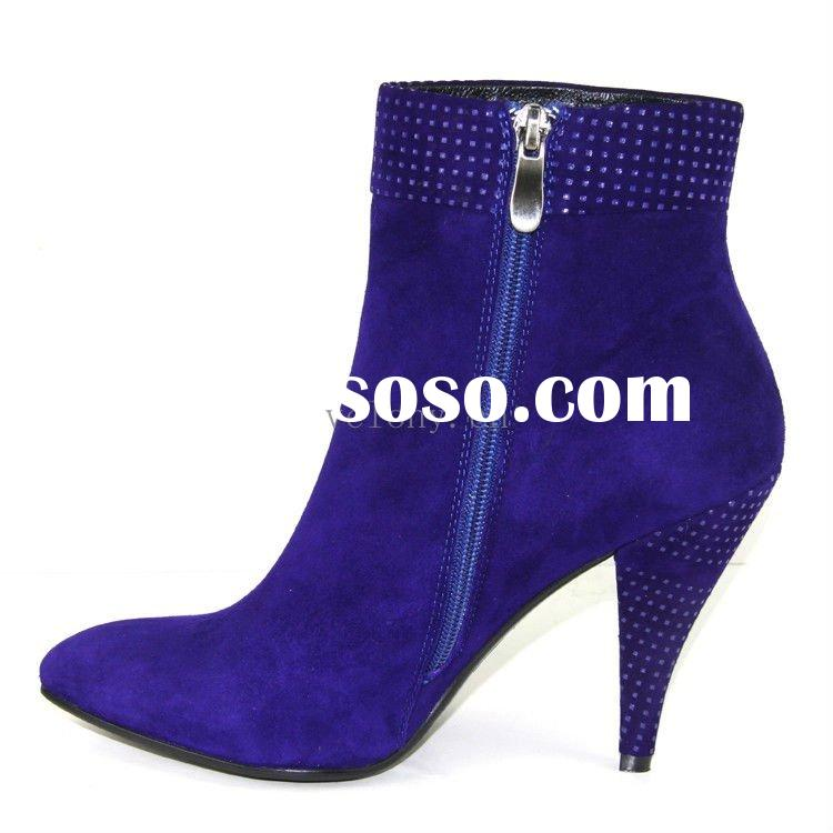 Brand VELONY2011Fashion navy blue suede pointed toe high heel women ankle boots