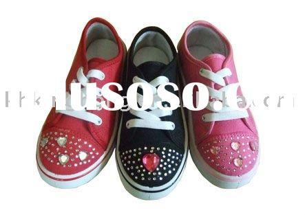 C11031 Slip On Canvas Shoes With Imitation Jewel