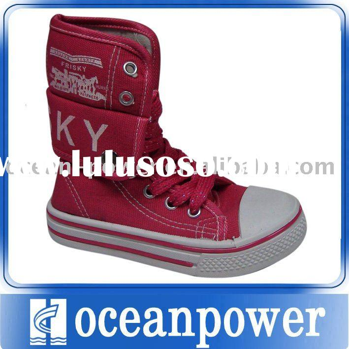 hot selling high top canvas shoes for kids