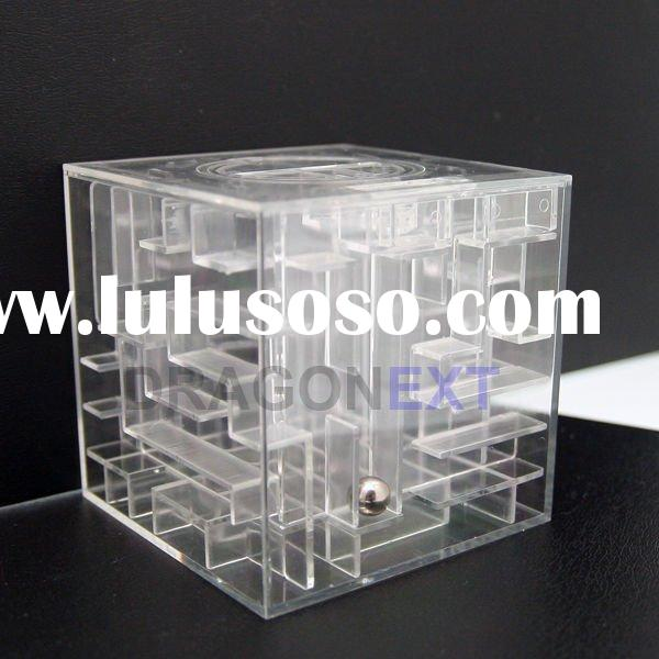Clear Money Box In Maze Puzzle Brain Teaser For Cash Saving
