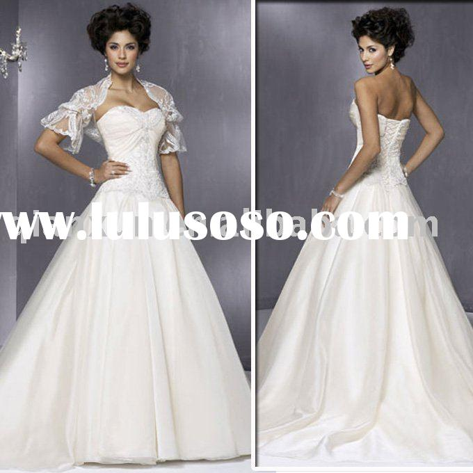 2010 New Style satin Wedding Dress with lace jacket removable
