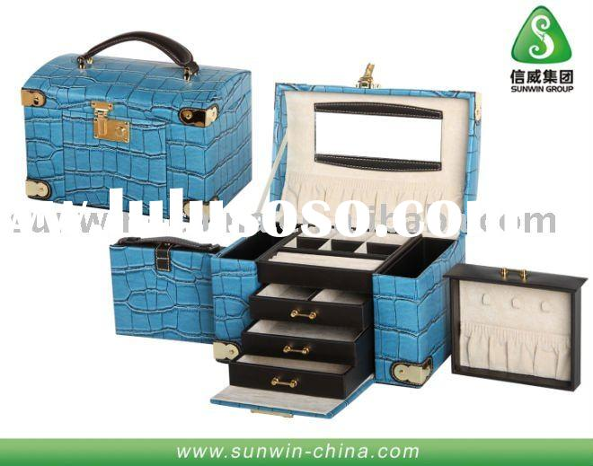 Multifunctional Sky Blue FM Croco Jewelry Gift Box