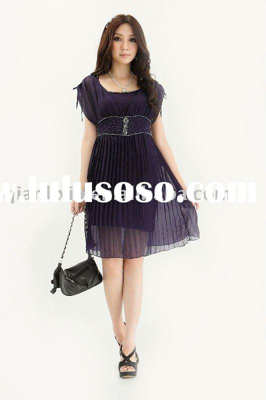 Plus size dress,Korean fashionable ladies' dress,two-piece set,deep V shape collar (Q253)