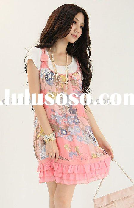 Plus size dress,Korean printing chiffon,T-shirt+braces skirt (Q1778)