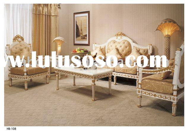 Sofa(Malaysia rubber wood upholstery fabric golden paint HB-108)