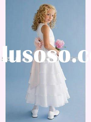 Special Chiffon flower girl dress with layered ruffle skirt, and detachable sash. -sl-d20