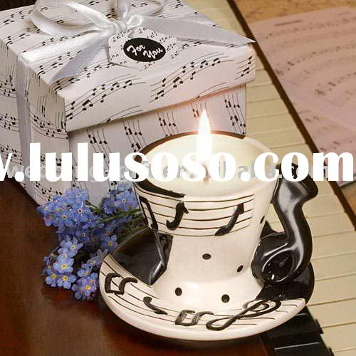 wedding gift musical note design tea cup candle favor set