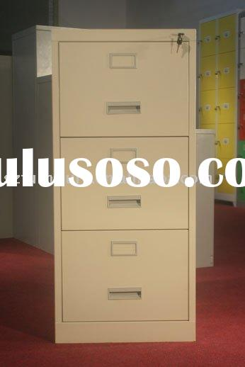 3 Drawer plastic recess handle card filing cabinet