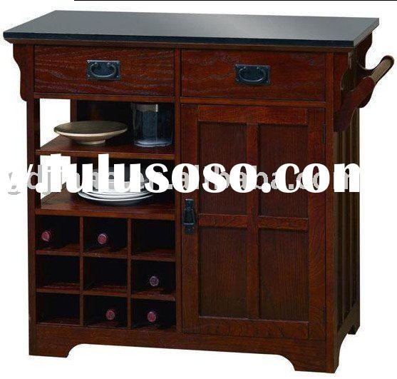 Craftsman Kitchen Cart with Black Granite Top