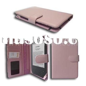 For Amazon Kindle 3 3G Pink Leather Flip Case Wi-Fi (Wallet Style)