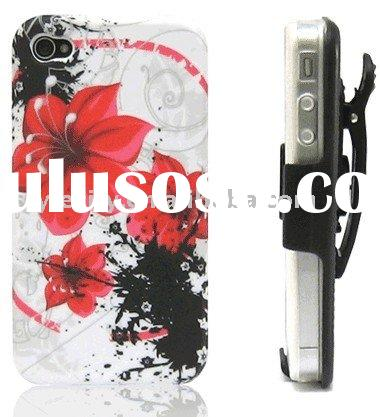 Graphic Jelly Case & Holster Belt Clip for Apple iPhone 4