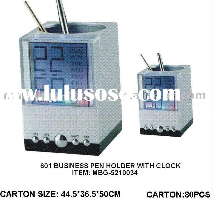 Promotional Office Gift,  Led Digital Clock Business Organizer Pen Card Holder